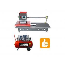 TPD7 pneumatic double base heat press  + compressor 100L