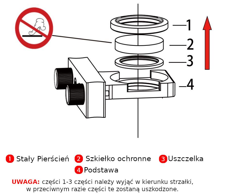 Montaż szkiełka ochronnego soczewki ochronnej do lasera fibrowego. e-logosmedia.pl